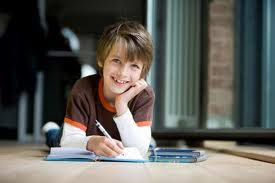 happy boy studying